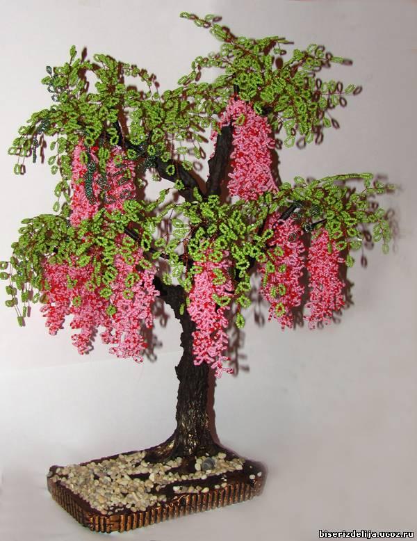 Цветы и деревья из бисера схемы